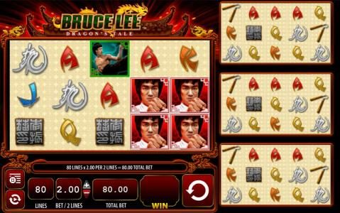 Bruce Lee Dragon's Tale :: Main game board featuring five reels and 80 paylines with a $400 max payout