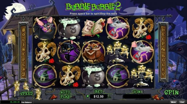 Sun Palace featuring the Video Slots Bubble Bubble 2 with a maximum payout of $12,500