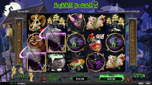 Mighty Slots featuring the Video Slots Bubble Bubble 2 with a maximum payout of $12,500
