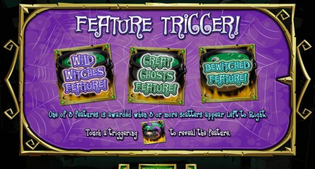 One of three features is awarded when 3 or more cauldron scatters appear left to right. Features include - Wild Witches Feature, Great Ghosts Feature and Bewitched Feature!