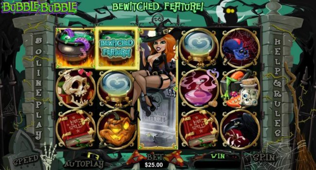 Mighty Slots featuring the Video Slots Bubble Bubble with a maximum payout of $250,000