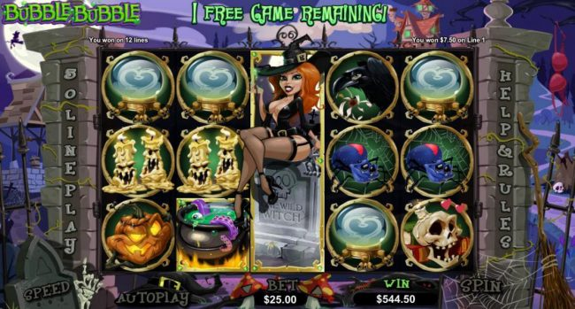 7 free games awarded - Winnin the Witch remains frozen on reel 3 during the free spins