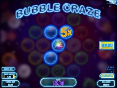 Chomp featuring the Video Slots Bubble Craze with a maximum payout of $250,000