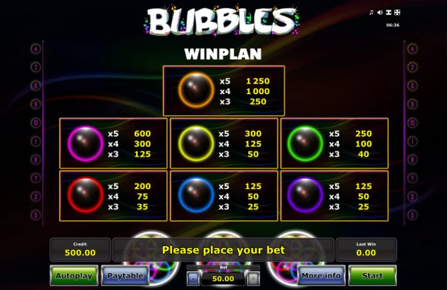 Hyper Casino featuring the Video Slots Bubbles with a maximum payout of $25,000