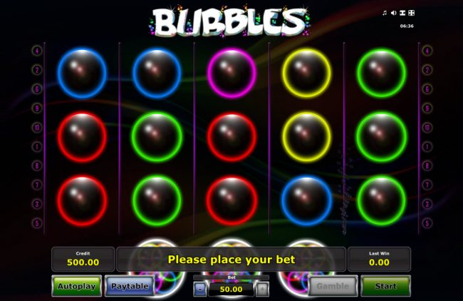 Play slots at Slots Cafe: Slots Cafe featuring the Video Slots Bubbles with a maximum payout of $25,000