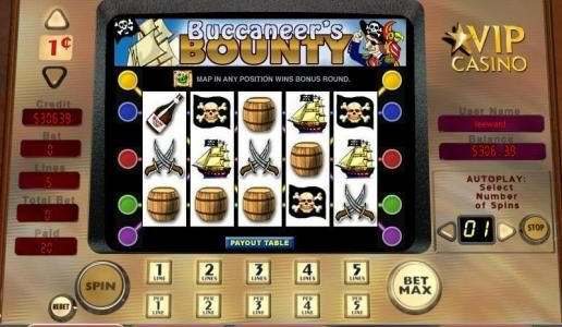 888 Casino featuring the video-Slots Buccaneer's Bounty with a maximum payout of 10,000x