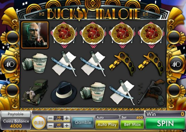 Buck$y Malone :: Main game board featuring five reels and 40 paylines with a $15,000 max payout.