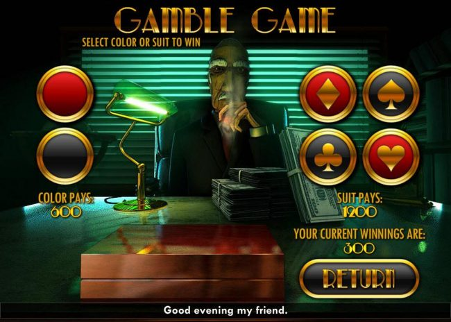 Buck$y Malone :: Gamble Feature - To gamble any win press Gamble then select Red or Black or Suit