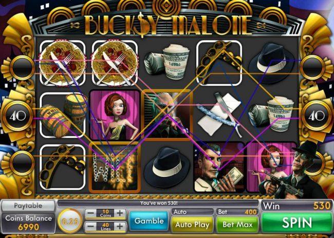 Buck$y Malone :: Multiple winning paylines triggers a big win!