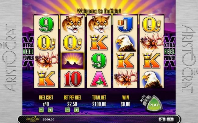EU Casino featuring the Video Slots Buffalo with a maximum payout of $30,000