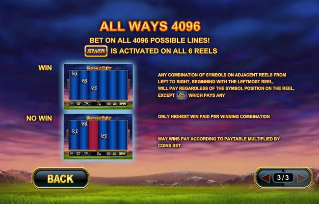 All Ways 4096 - Bet on all 4096 possible Lines! Allways is activated on all 6 reels.