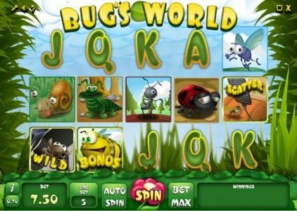 Play slots at Abo Casino: Abo Casino featuring the Video Slots Bug's World with a maximum payout of $2,000