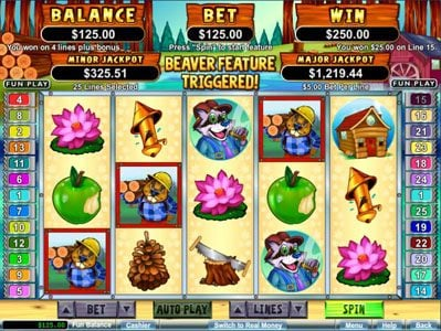Royal Ace featuring the Video Slots Builder Beaver with a maximum payout of $250,000