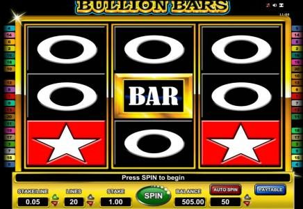 Bullion Bars :: main agme board featuring three reels and 20 paylines