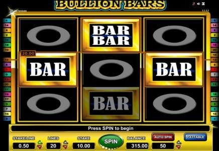 Bullion Bars :: $30 payout triggered by a pair of winning paylines