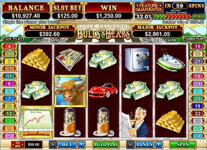 Play slots at Las Vegas USA: Las Vegas USA featuring the Video Slots Bulls and Bears with a maximum payout of $250,000