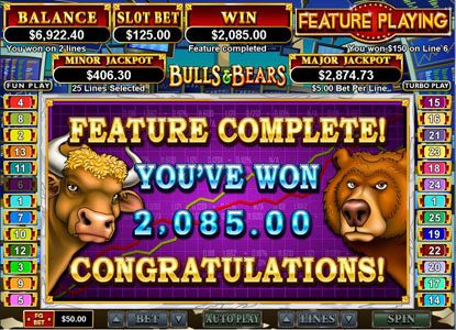 Royal Ace featuring the Video Slots Bulls and Bears with a maximum payout of $250,000