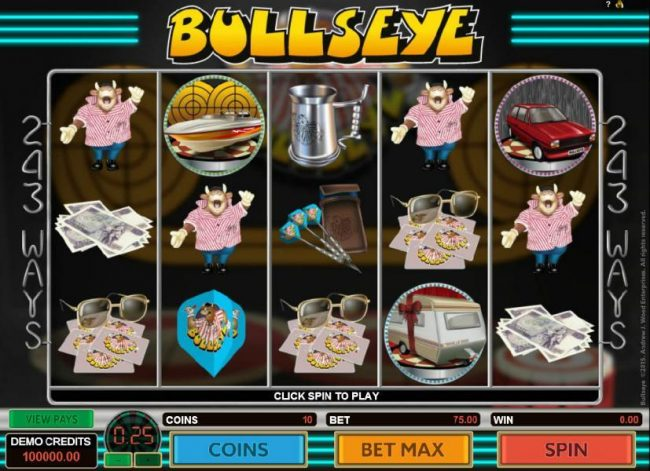 Play slots at 21 Jackpots: 21 Jackpots featuring the Video Slots Bullseye with a maximum payout of $303,750