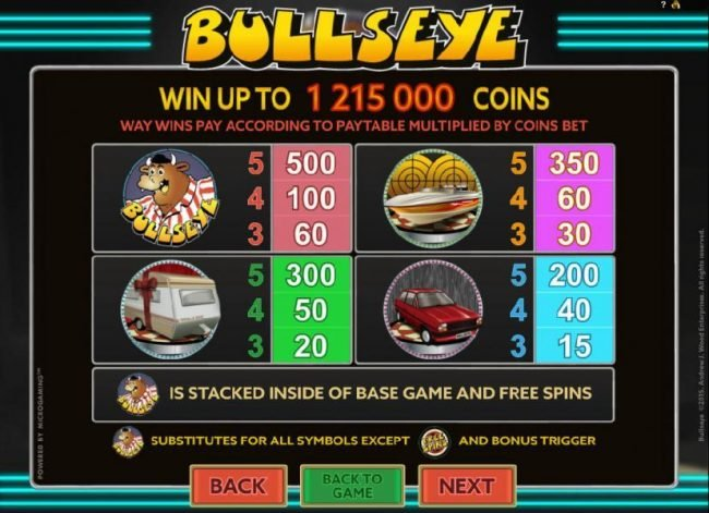 Bullseye :: High value slot game symbols paytable - Win up to 1,215,000 coins.
