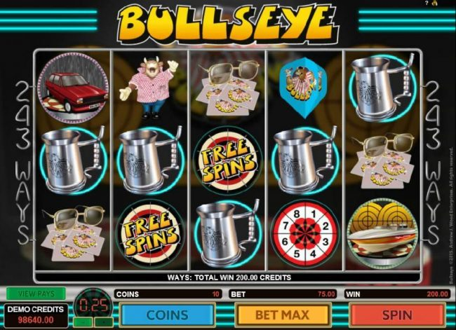 Bullseye :: A five of a kind leads to a 200.00 big win.