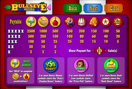 Slots Cafe featuring the Video Slots Bullseye Bucks with a maximum payout of $62,500