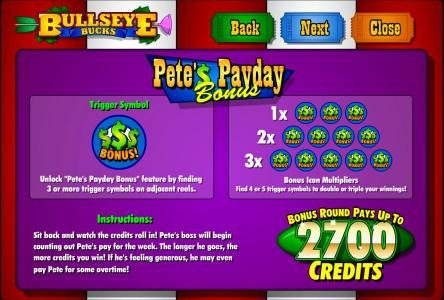 Prime Slots featuring the Video Slots Bullseye Bucks with a maximum payout of $62,500