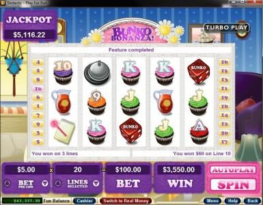 Kudos featuring the Video Slots Bunko Bonanza with a maximum payout of $250,000