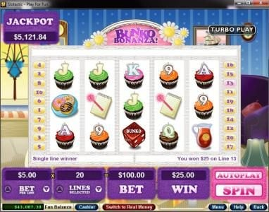 Bovegas featuring the Video Slots Bunko Bonanza with a maximum payout of $250,000