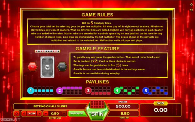 NordiCasino featuring the Video Slots Burning Flame with a maximum payout of $2,500