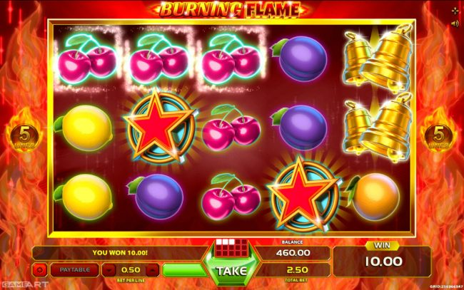 Kingbit Casino featuring the Video Slots Burning Flame with a maximum payout of $2,500