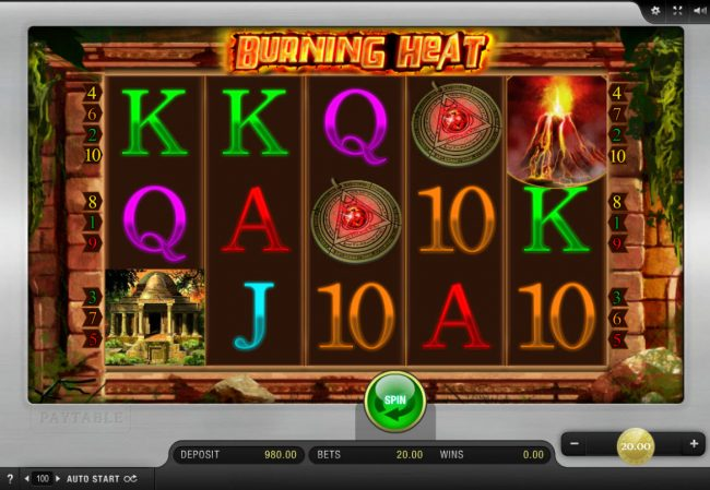 Casino Red Kings featuring the Video Slots Burning Heat with a maximum payout of $4,000