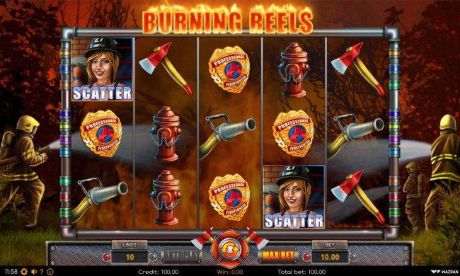 Burning Reels :: Main game board featuring five reels and 10 paylines with a $40,000 max payout.