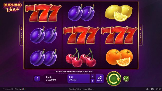 LaFiesta featuring the Video Slots Burning Wins Classic 5 Lines with a maximum payout of $30,000