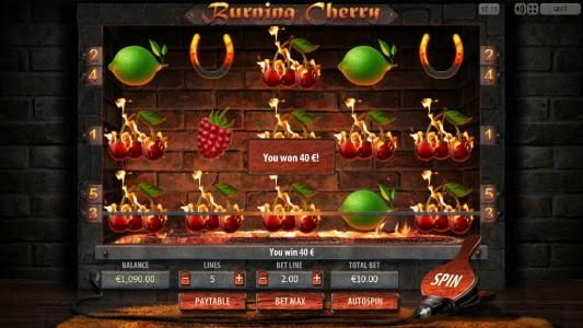 Play slots at TS: TS featuring the Video Slots Burning Cherry with a maximum payout of $5,000