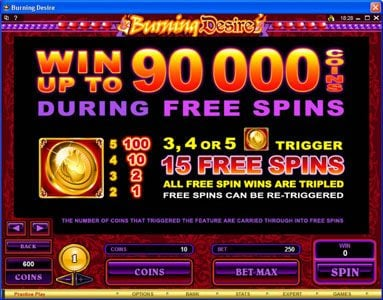 emu Casino featuring the Video Slots Burning Desire with a maximum payout of $900,000