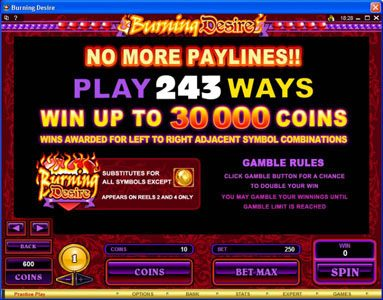 Colosseum featuring the Video Slots Burning Desire with a maximum payout of $900,000