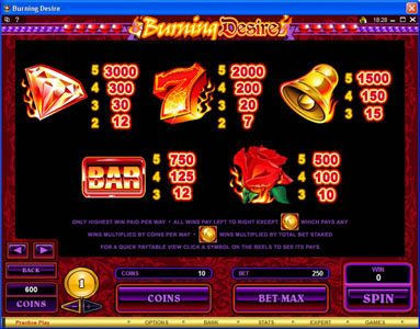 Play slots at Blackjack Ballroom: Blackjack Ballroom featuring the Video Slots Burning Desire with a maximum payout of $900,000