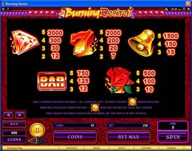 Casumo featuring the Video Slots Burning Desire with a maximum payout of $900,000