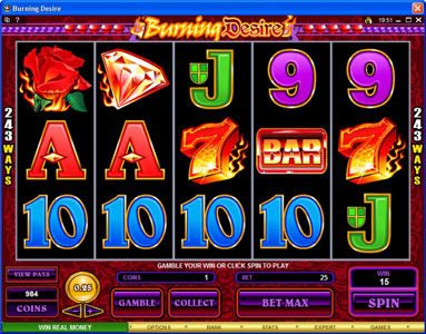 Spinland featuring the Video Slots Burning Desire with a maximum payout of $900,000