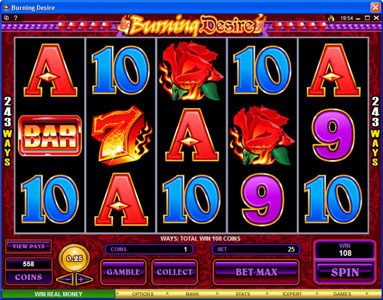 Spin Palace featuring the Video Slots Burning Desire with a maximum payout of $900,000