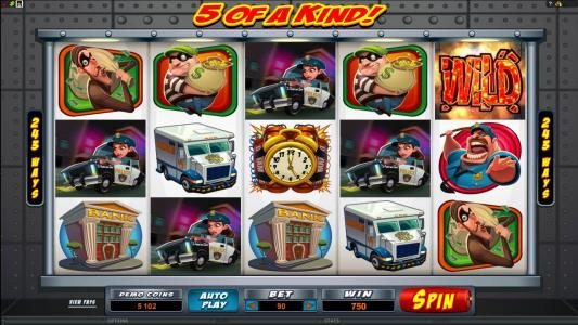 Bust the Bank :: five of a kind triggers 750 coin jackpot
