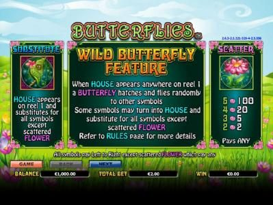 Betway featuring the Video Slots Butterflies with a maximum payout of $14,000