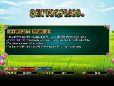 Yako Casino featuring the Video Slots Butterflies with a maximum payout of $14,000