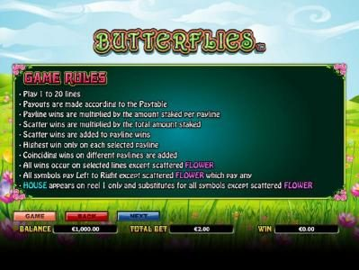 Casinsi featuring the Video Slots Butterflies with a maximum payout of $14,000