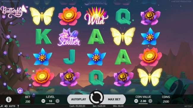 Play slots at Casino BTC: Casino BTC featuring the Video Slots Butterfly Staxx with a maximum payout of $1,200