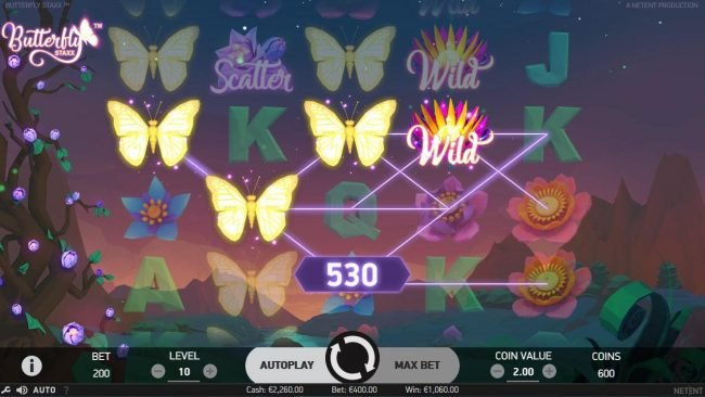 Casinia featuring the Video Slots Butterfly Staxx with a maximum payout of $1,200