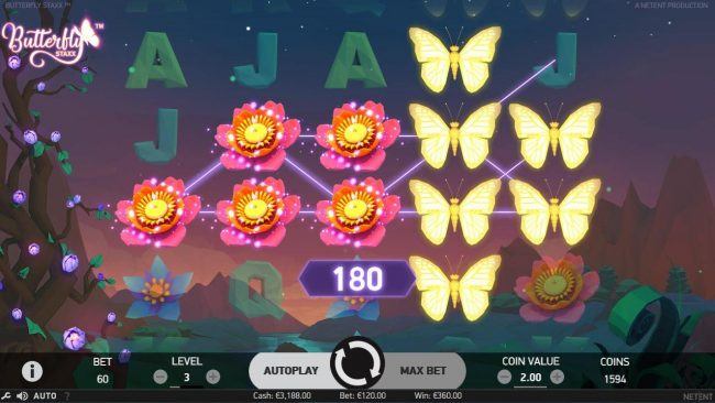 Lucky Dino featuring the Video Slots Butterfly Staxx with a maximum payout of $1,200