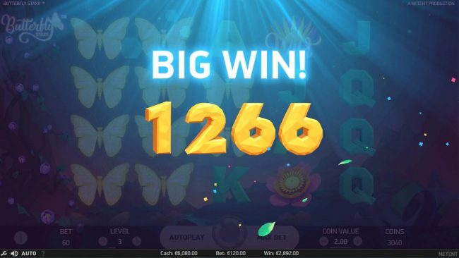 Slots Angel featuring the Video Slots Butterfly Staxx with a maximum payout of $1,200
