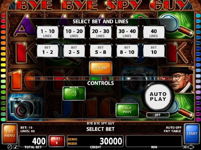 Orientxpress featuring the Video Slots Bye Bye Spy Guy with a maximum payout of $200,000