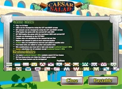 Caesars featuring the video-Slots Caesar Salad with a maximum payout of 7,5000x